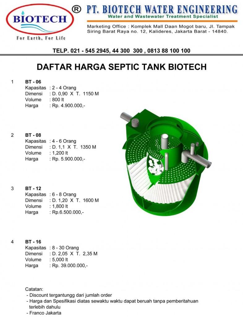 PRICE LIST SEPTIC TANK BIOTECH, DAFTAR HARGA BIOTEK