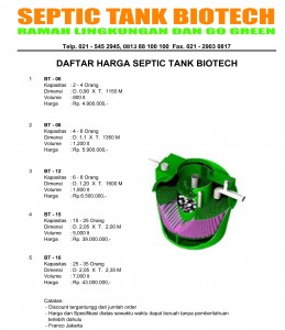 daftar harga septic tank biotech go green
